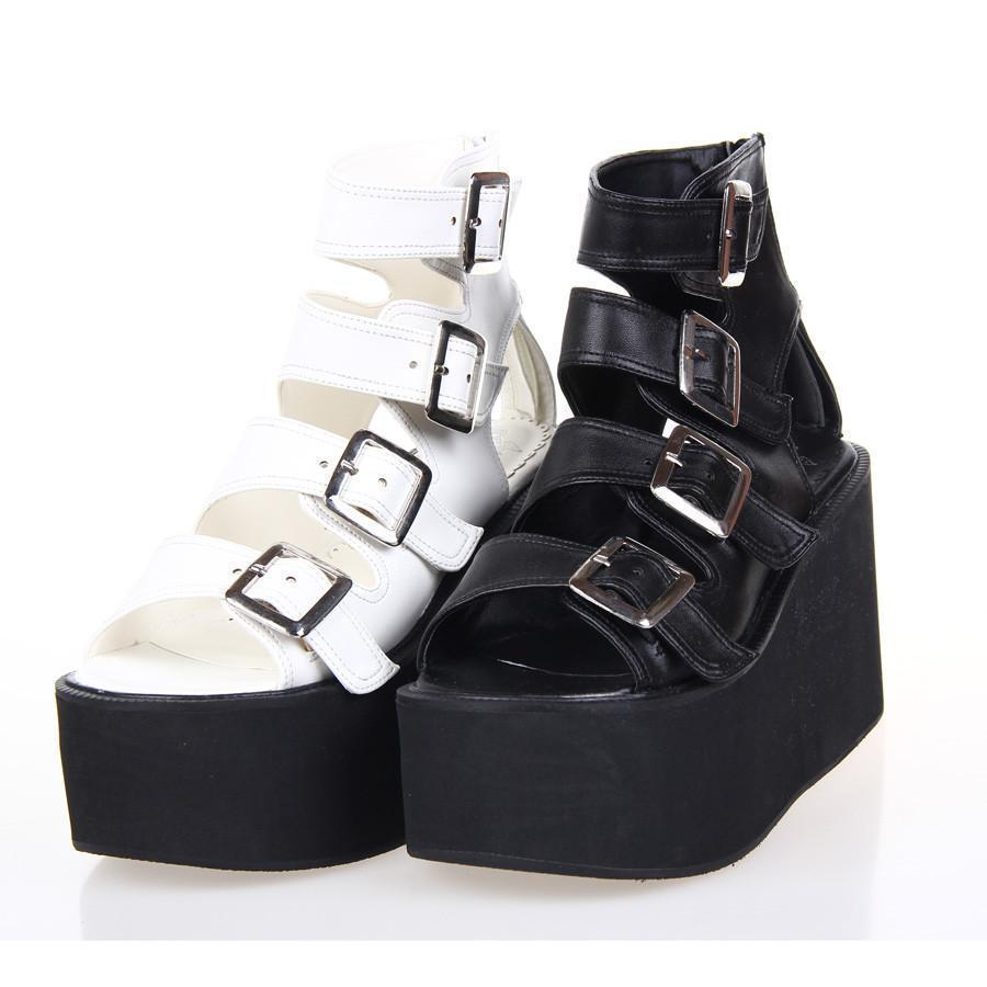 Women's Punk Rock Platform Wedges-Black-5-