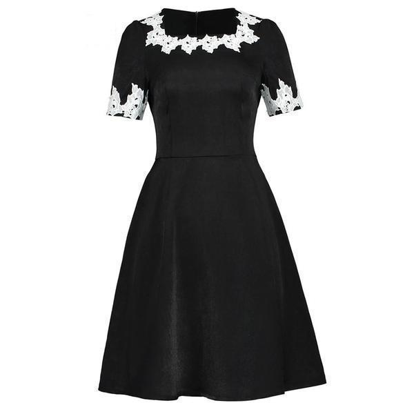 Women's Retro Style Black Casual Dress-S-