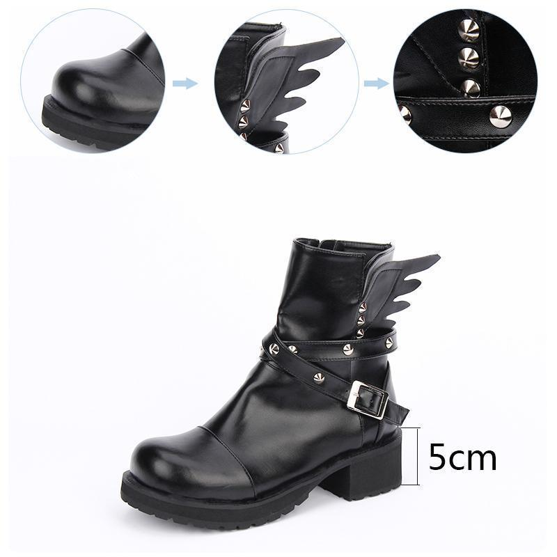 Women's Rivet Buckle Boots Strap With Wings - The Black Ravens