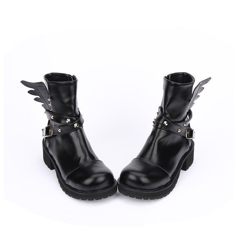 Women's Rivet Buckle Boots Strap With Wings-Black-5-