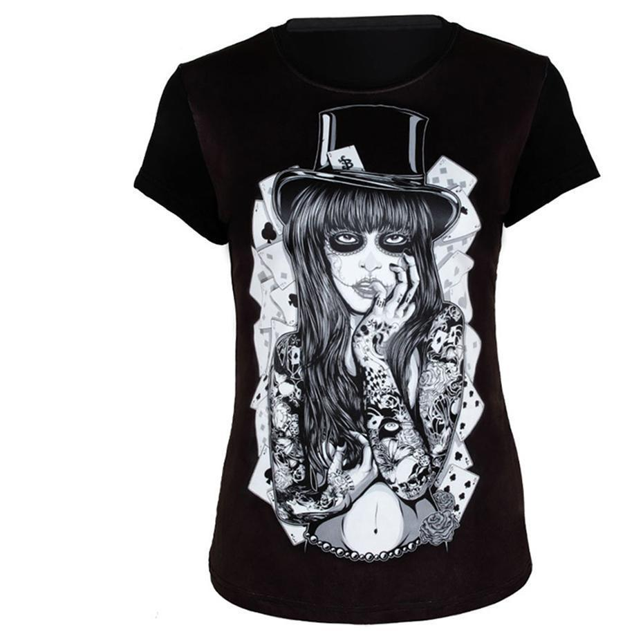 Women's Sexy Rocker Poker Top-