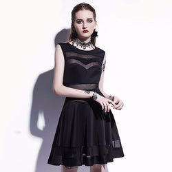 Women's Sexy Sleeveless Goth Gown-Black-M-