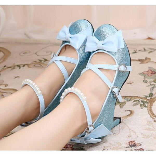 Women's Shiny Silver/Gold Lolita Pumps-Blue-5-