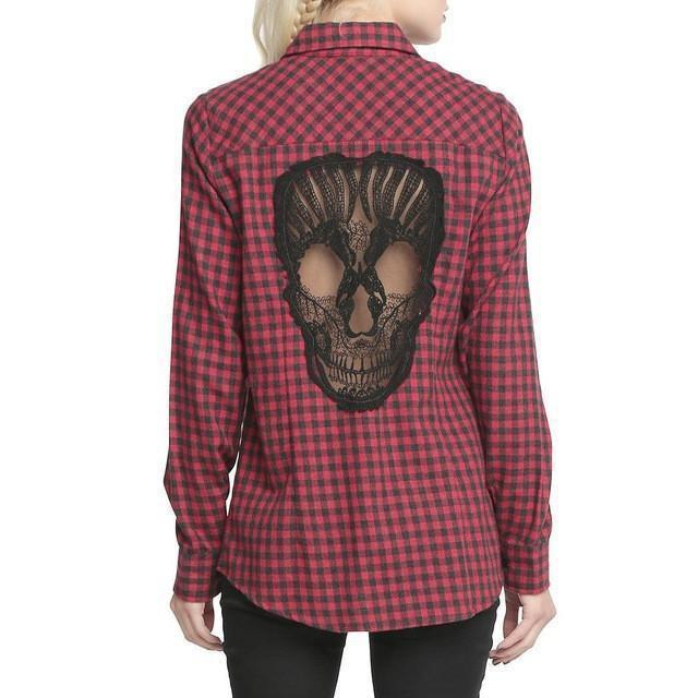 Women's Skeleton Head Back Tee-Red-S-