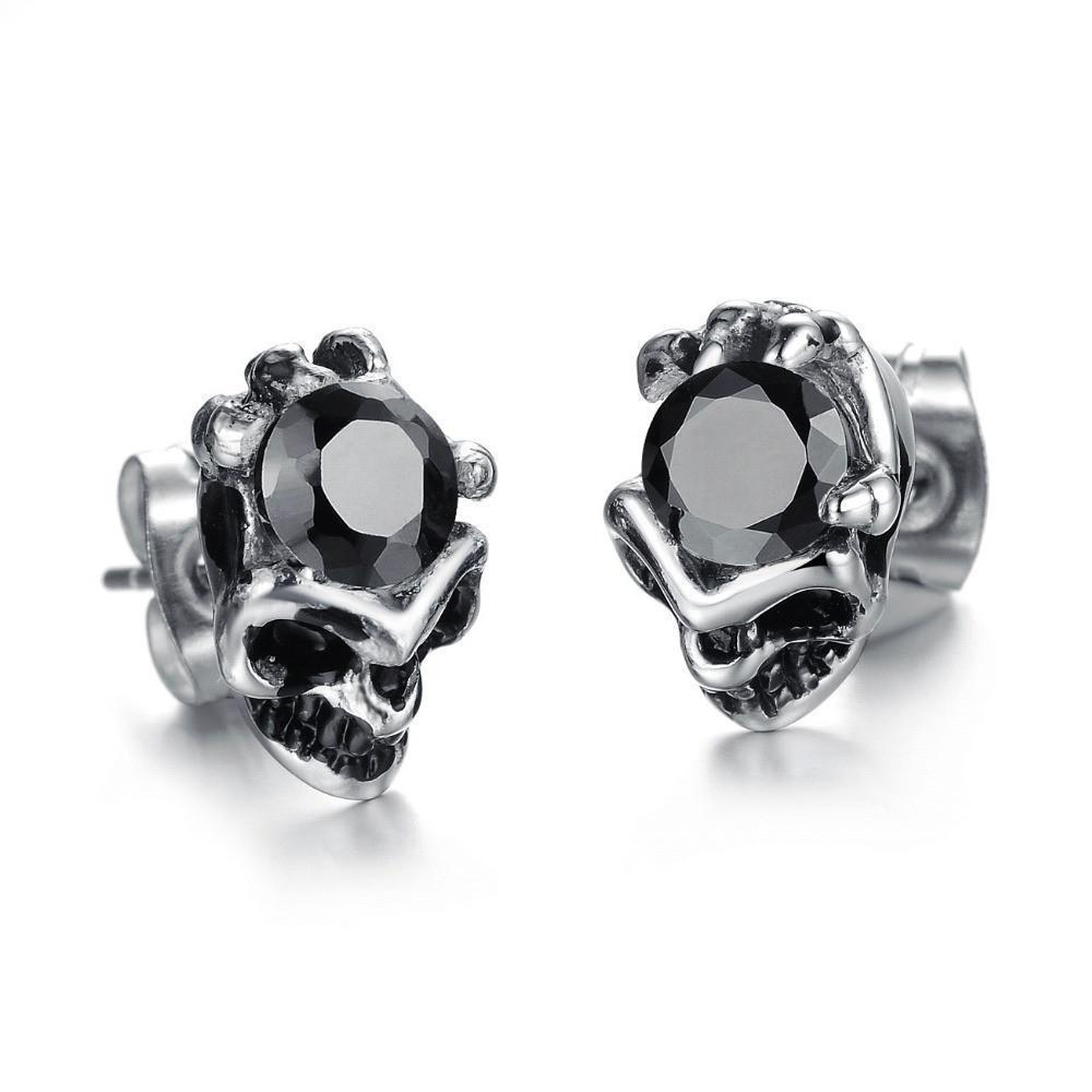 Women's Skeleton Head Rhinestone Earring-Black Crystal-