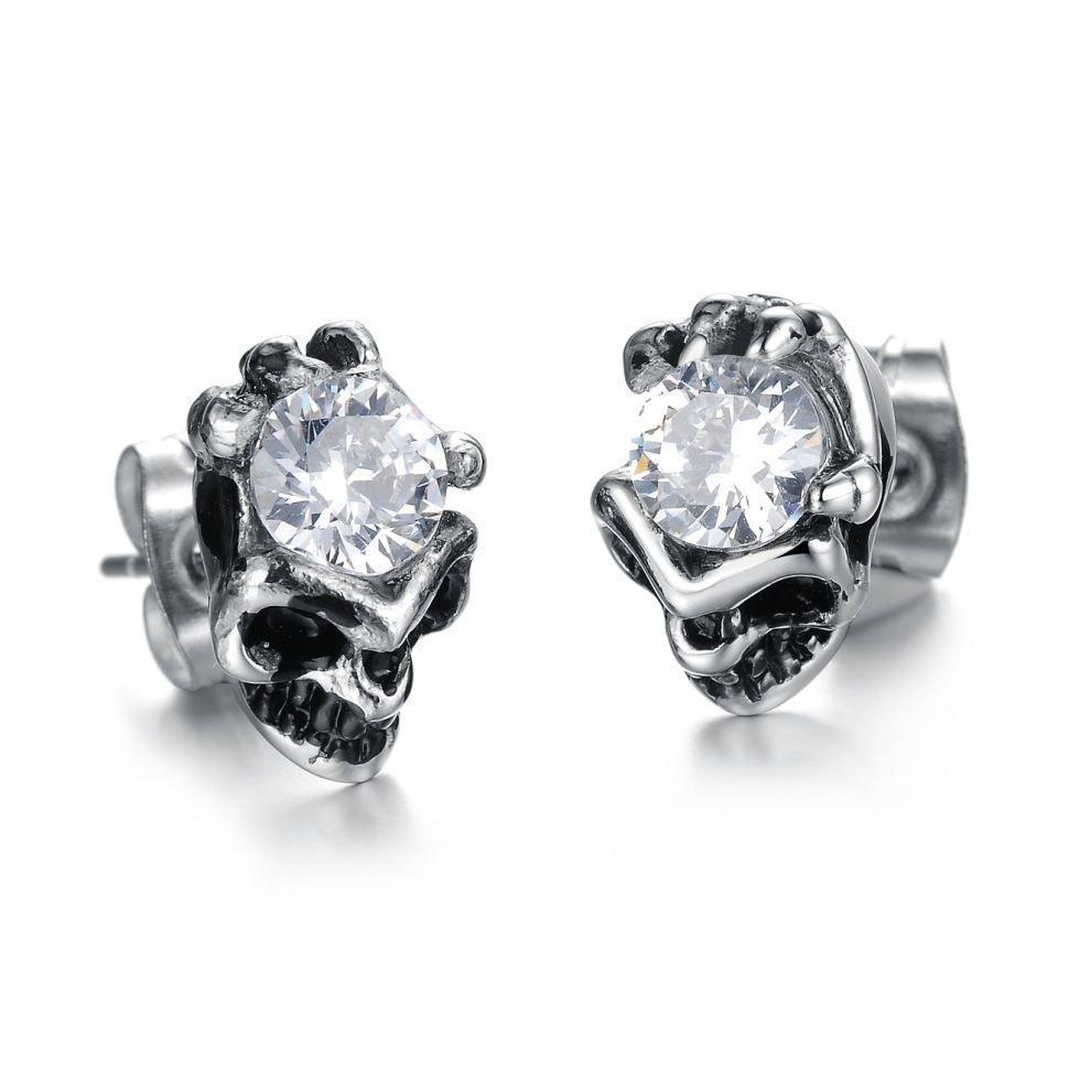 Women's Skeleton Head Rhinestone Earring-Clear Crystal-