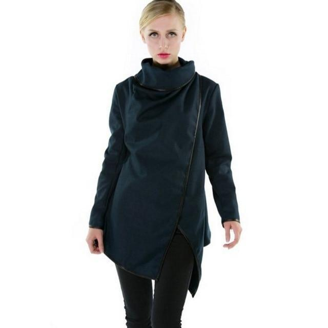 Women's Smart Slim Overcoat-Dark Blue-S-