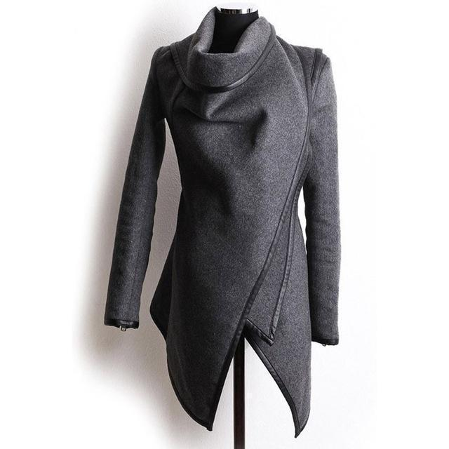 Women's Smart Slim Overcoat-Gray-S-