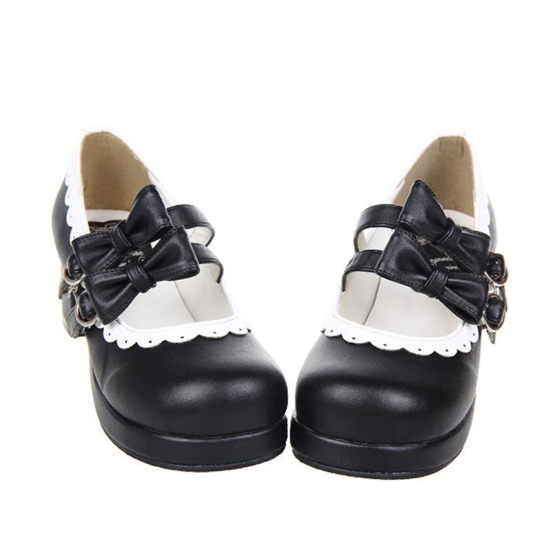 Women's Sweet Lolita Double Bow Shoes-Black-4.5-