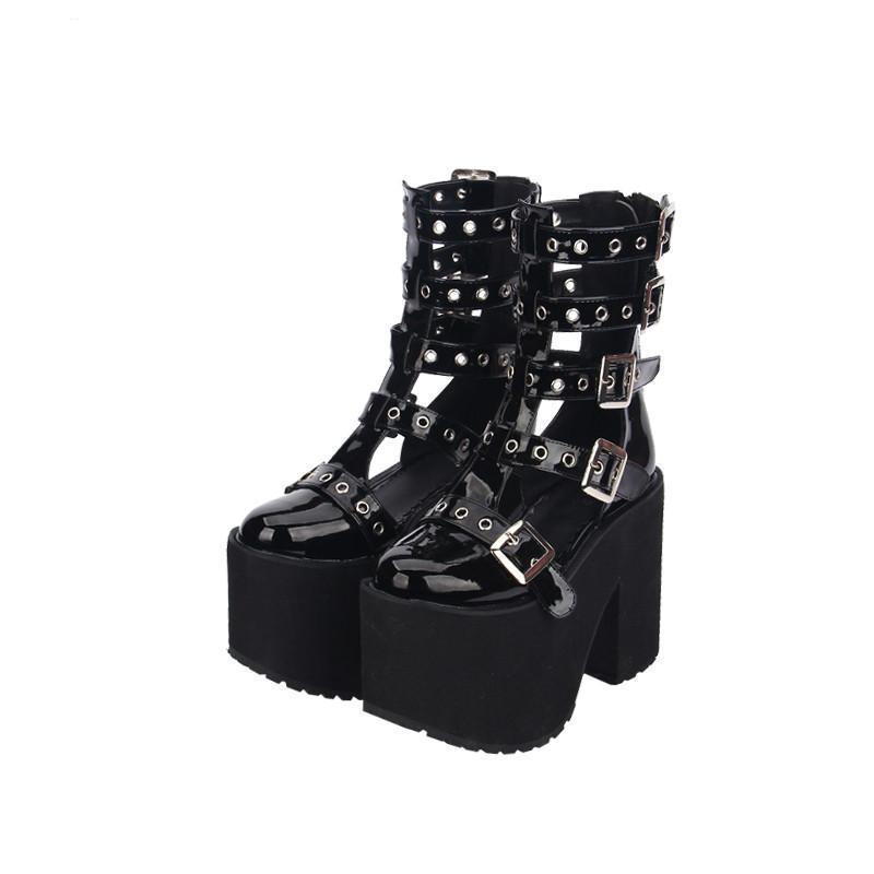 Women's Thick Goth Tall Boots - The Black Ravens