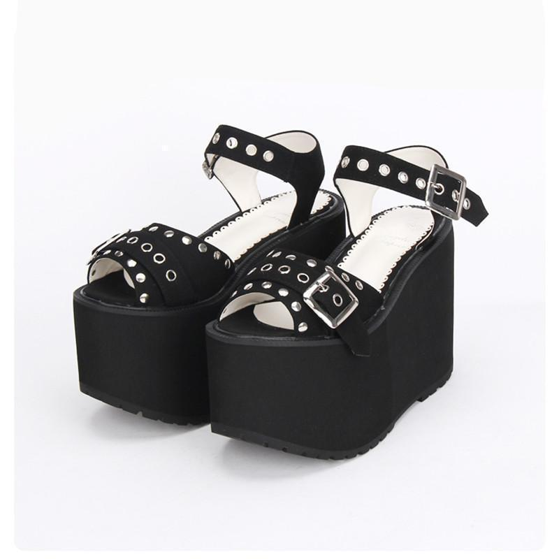 Women's Thick Platform Black And Red Rivet Shoes-Black-5.5-