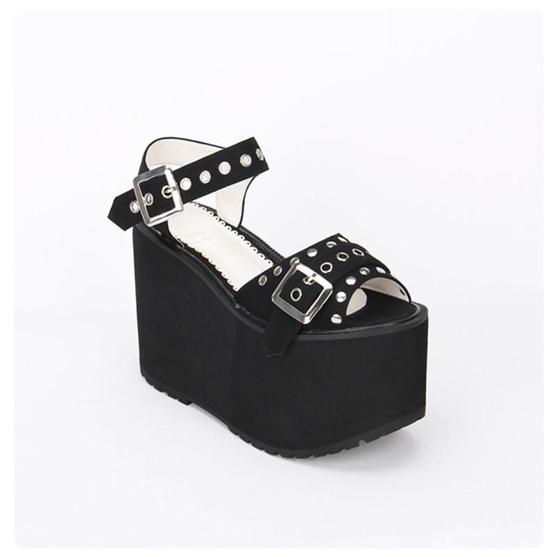 Women's Thick Platform Black and Red Rivet Shoes - The Black Ravens