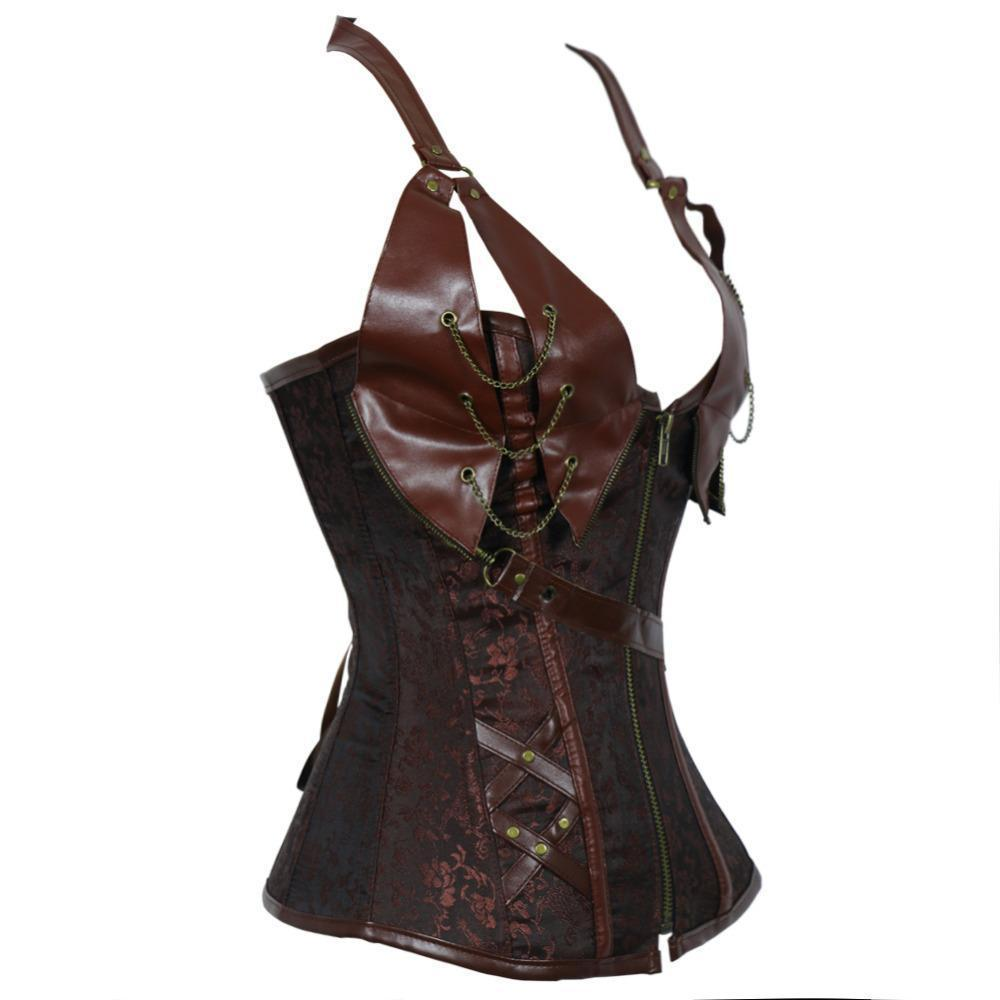 Women's Vintage Patchwork Steampunk Corset-Brown-S-