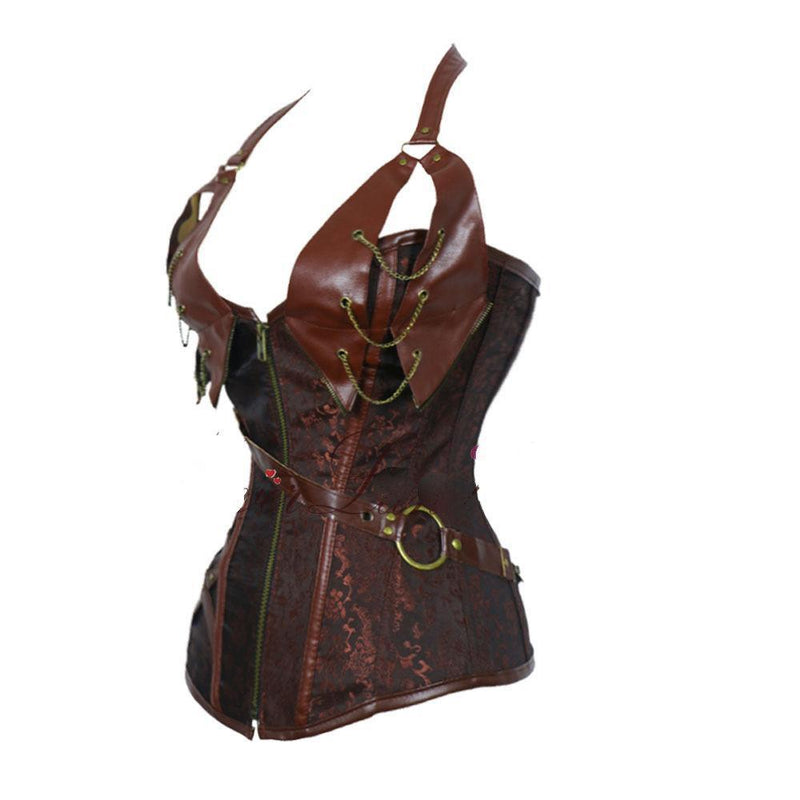 Women's Vintage Patchwork Steampunk Corset - The Black Ravens