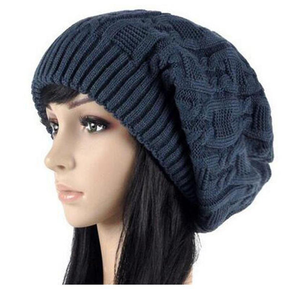 Women's Warm Knitted Loose Hippie Beanies-Black-