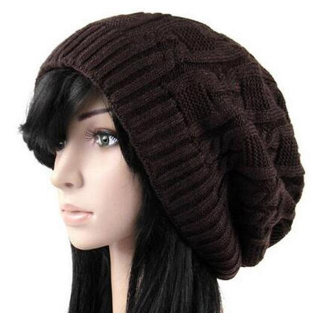 Women's Warm Knitted Loose Hippie Beanies-Coffee-