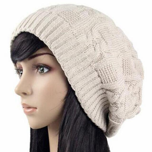Women's Warm Knitted Loose Hippie Beanies-Khaki-