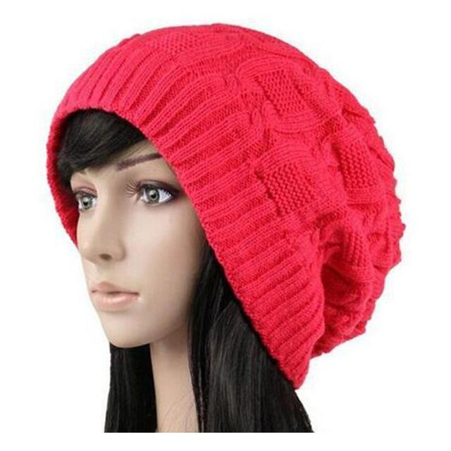 Women's Warm Knitted Loose Hippie Beanies-Red-