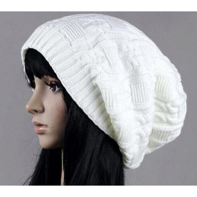 Women's Warm Knitted Loose Hippie Beanies-White-