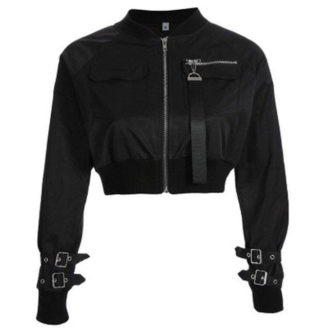 Women's Zippered Navel Bomber Jacket-Black-S-