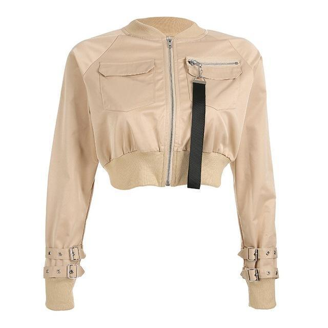 Women's Zippered Navel Bomber Jacket-Khaki-S-