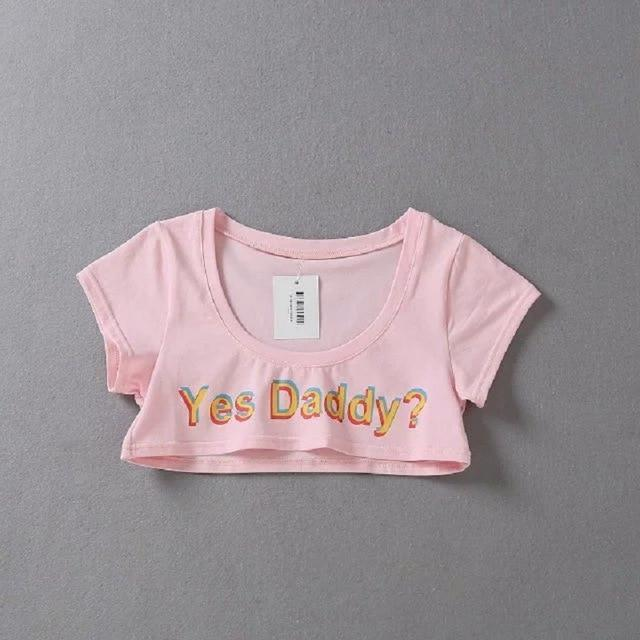 Yes Daddy Hot Crop Top-Pink-