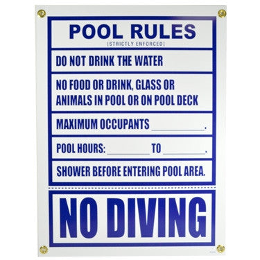 Pentair Pool Rules Sign, Florida Approved