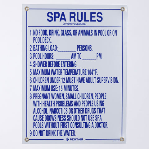 Pentair Spa Rules Sign, Florida Approved