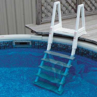 Heavy Duty In Pool Ladder w/Barrier Gray/White