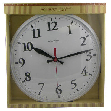 "Chaney/AcuRite 12 1/2"" White Basic Clock"