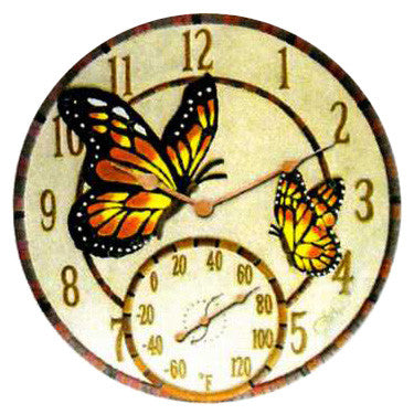 Taylor Precision Mosaic Butterflies Thermometer with Clock
