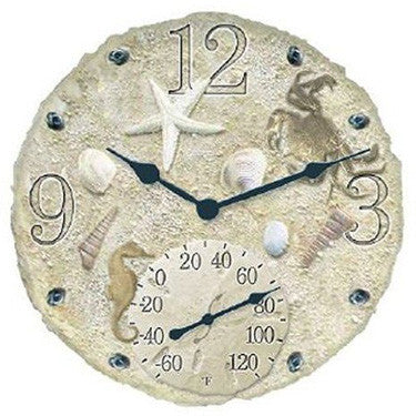 Taylor Precision Seashells Clock with Thermometer