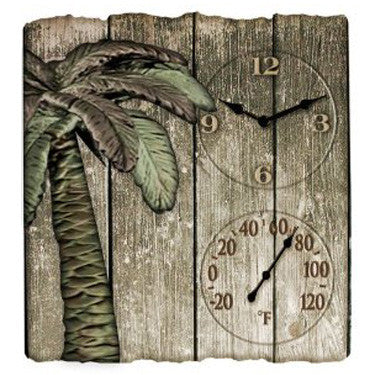 Taylor Precision Driftwood Palm Clock with Thermometer