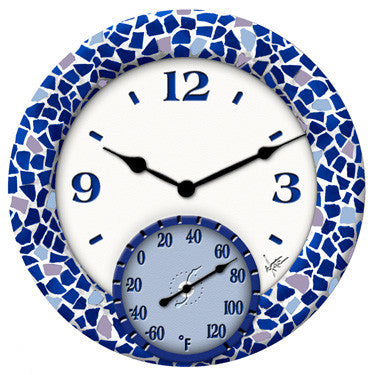 Taylor Precision Mosaic Sea Clock with Thermometer