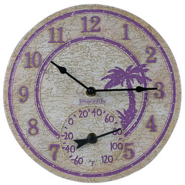 "12"" Palm Tree Clock W/ Thermometer"
