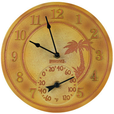 """12"""" Terracotta Palm Clock W/Thermometer"""