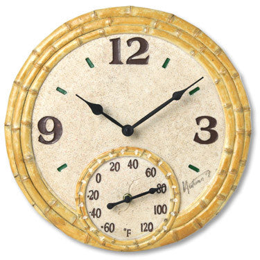 Taylor Precision Bamboo Clock with Thermometer