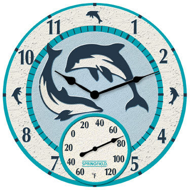 "12"" Mosaic Dolphin Clock W/Thermometer"