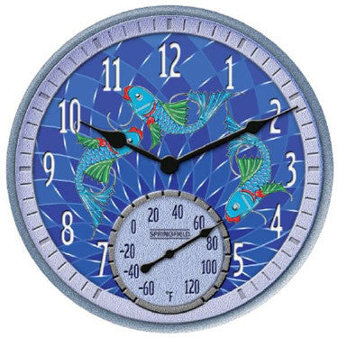 Taylor Precision Koi Fish Clock with Thermometer