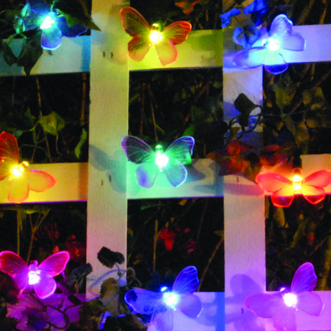 Smart Living Solar String Lights - 20 LED Color Changing Butterflies