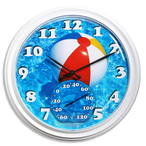 Taylor Precision Beach Balls Clock with Thermometer
