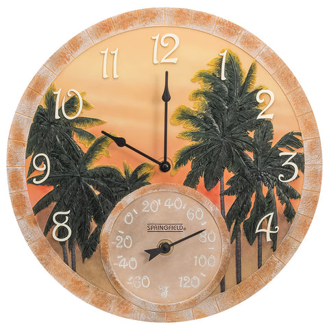 Taylor Precision Coconut Bay Clock with Thermometer