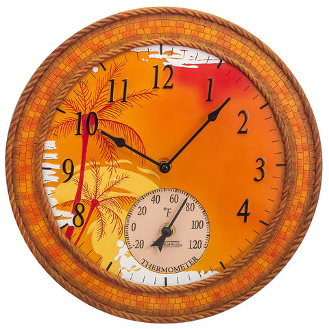 Taylor Precision Mosaic Palms Clock with Thermometer