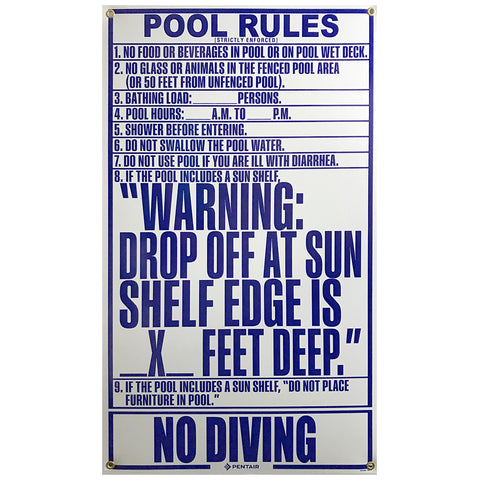 Pentair Pool Rules Sign 2018 Florida Approved
