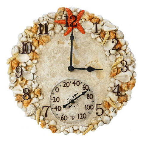 Taylor Precision Sea Shells Clock with Thermometer