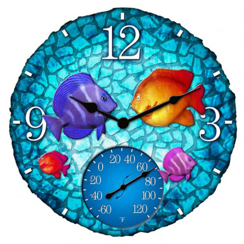 Taylor Precision Tropical Mosaic Fish Clock with Thermometer