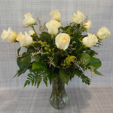 Load image into Gallery viewer, Soft Yellow Roses Arranged in Vase