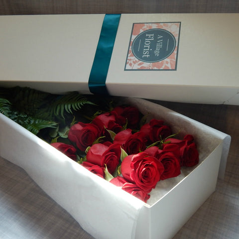 One Dozen Long Stem Roses- Boxed Presentation