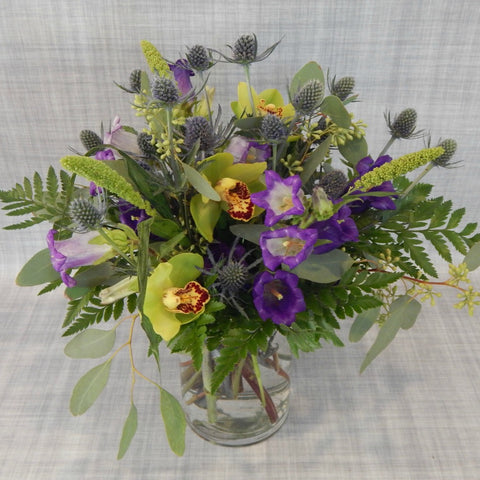 Soft Blue Thistles, Green Orchids & Purples in a Vase