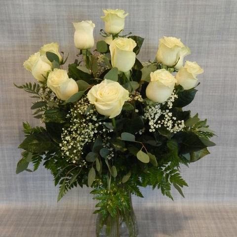 White Rose Vase Arrangement